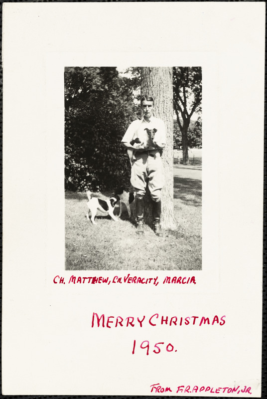 Ch. Matthew, Ch. Veracity, Marcia. Merry Christmas, 1950, from F. R. Appleton, Jr.