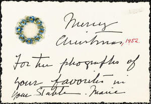 Merry Christmas, 1952. For the photographs of your favorites in your stable. Marie