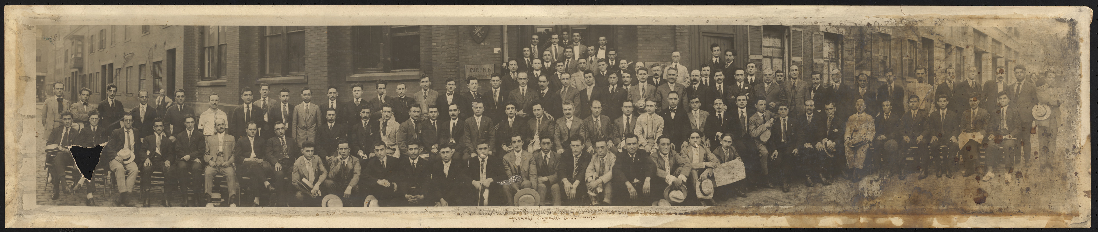 The delegates of the A.R.F. (Armenian Revolutionary Federation) America 26th convention in front of the Hairenik House in Boston