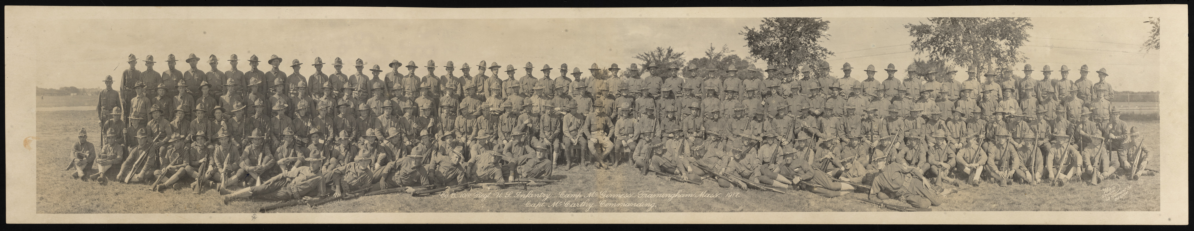 Co. B, 101st Regt. U.S. Infantry, Camp McGinness, Framingham Mass, 1917. Capt. McCarthy commanding