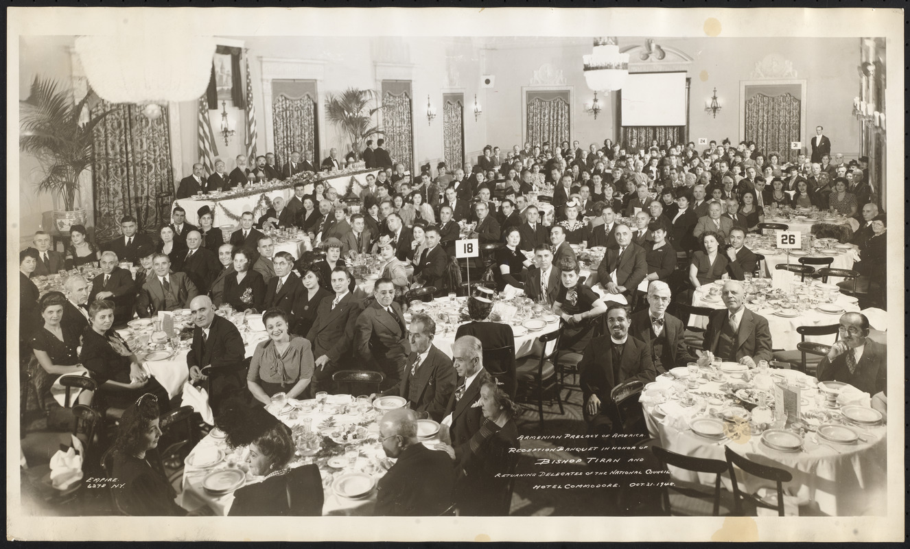Armenian Prelacy of America, reception banquet in honor of Bishop Tiran and returning delegates of the National Council