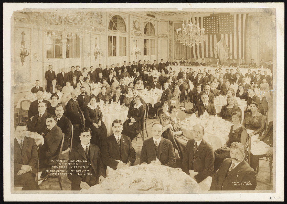 Banquet tendered In honor of General Antranik by Armenians of Philadelphia