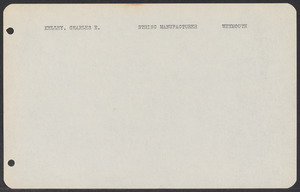 Sacco-Vanzetti Case Records, 1920-1928. Defense Papers. Jury List: Kelley-Ryder, n.d. Box 3, Folder 11, Harvard Law School Library, Historical & Special Collections