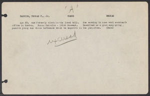 Sacco-Vanzetti Case Records, 1920-1928. Defense Papers. Jury Lists, n.d. Box 3, Folder 13, Harvard Law School Library, Historical & Special Collections