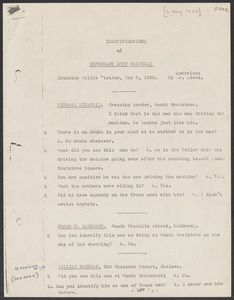 """Sacco-Vanzetti Case Records, 1920-1928. Defense Papers. """"Identification of Defendant Bert Vanzelli,"""" May 6, 1920. Box 3, Folder 19, Harvard Law School Library, Historical & Special Collections"""