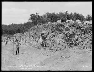 Weston Aqueduct, Section 15, cemented gravel excavation, stations 696+50 to 695, Weston, Mass., Jun. 23, 1902