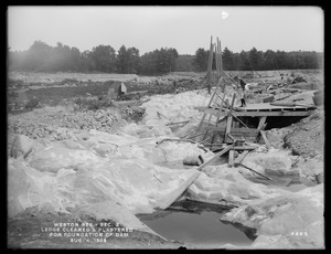 Weston Aqueduct, Weston Reservoir, Section 2, ledge cleaned and plastered for foundation of dam, Weston, Mass., Aug. 4, 1902