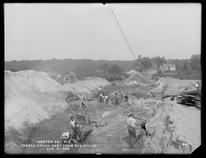 Weston Aqueduct, Section 12, trench excavation, easterly from station 515+25, Wayland, Mass., Aug. 4, 1902