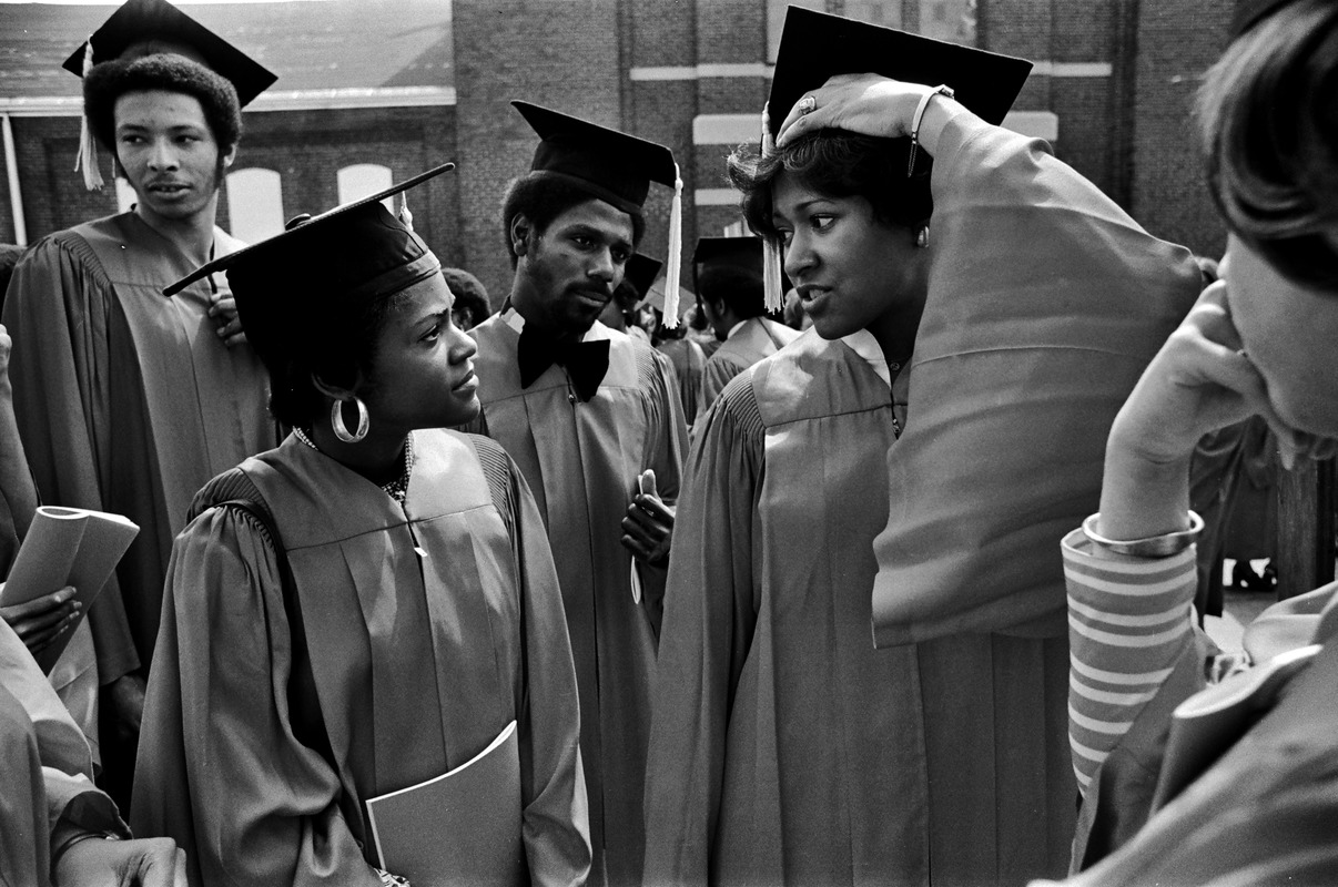 Boston University African-American graduates in caps and gowns ...