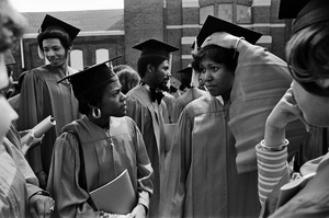 Boston University African-American graduates in caps and gowns, Boston