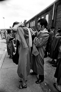 Boston University graduates before graduation exercises at Nickerson Field, Boston