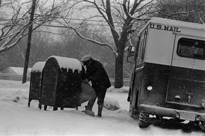 Postman in the snow, Hingham, MA
