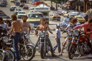 Motorcycling dudes (note no helmets), Old Orchard Beach, ME