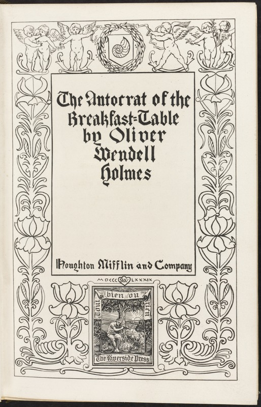 The autocrat of the breakfast-table [Title page]