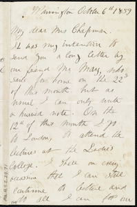 Letter from Sarah Parker Remond, Warrington, [England], to Maria Weston Chapman, October 6th, 1859