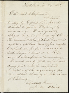 Letter from J. M. Aldrich, Fall River, [Mass.], to Maria Weston Chapman, Nov. 29, 1859