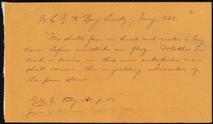 Quotation from a letter from William Lloyd Garrison, [Boston, Mass.], to Benjamin Lundy, Jan'y 1831