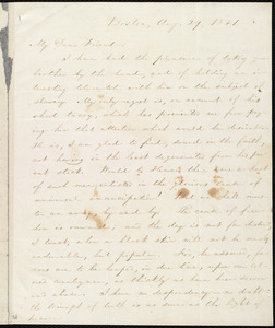 Letter from William Lloyd Garrison, Boston, [Mass.], to Henry Egbert Benson, Aug. 29, 1831