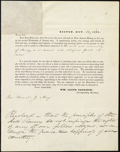 Letter from William Lloyd Garrison, Boston, [Mass.], to Samuel Joseph May, Dec. 4, 1832