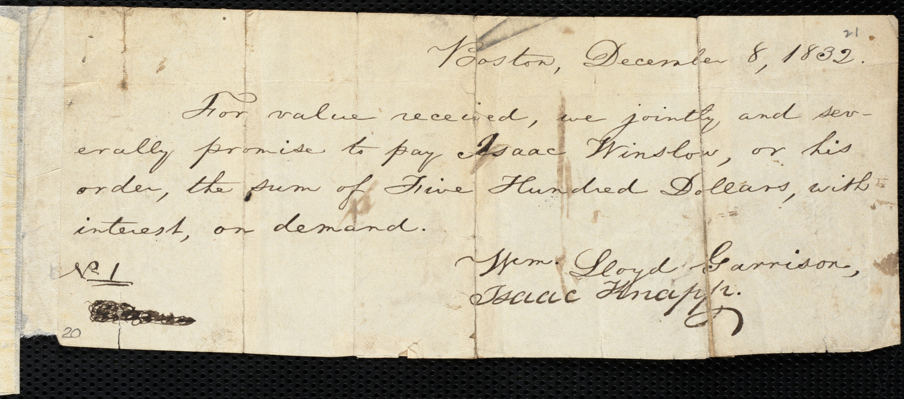 Promissory note from William Lloyd Garrison, Boston, [Mass.], to Isaac Winslow, December 8, 1832