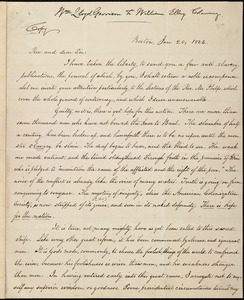 Copy of letter from William Lloyd Garrison, Boston, [Mass.], to William Ellery Channing, Jan. 20, 1834