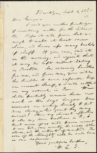 Letter from William Lloyd Garrison, Brooklyn, [Conn.], to George William Benson, Sept. 1, 1835