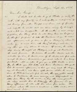 Letter from William Lloyd Garrison, Brooklyn, [Conn.], to George William Benson, Sept. 19, 1836