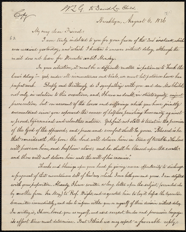 Copy of letter from William Lloyd Garrison, Brooklyn, [Conn.], to David Lee Child, August 6, 1836