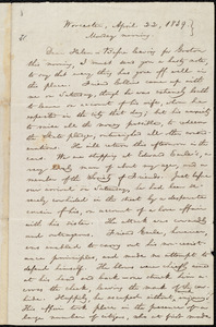 Letter from William Lloyd Garrison, Worcester, [Mass.], to Helen Eliza Garrison, April 22, 1839, Monday morning
