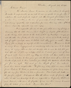 Letter from William Lloyd Garrison, Boston, [Mass.], to Elizabeth Pease Nichol, August 31, 1840