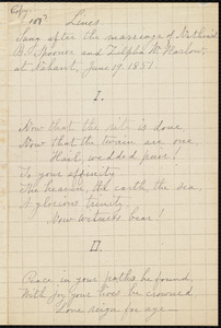 Lines sung after the marriage of Nathaniel B. Spooner and Zilpha W. Harlow at Nahant, by William Lloyd Garrison, June 19, 1851