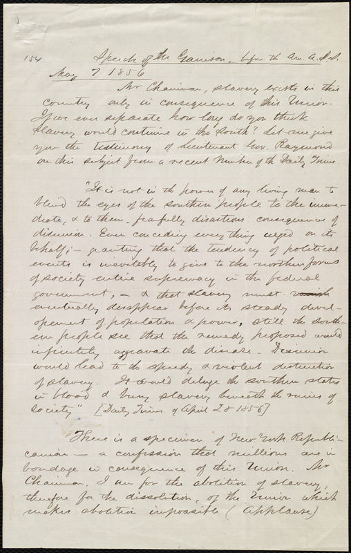 Speech before the Am. A. S. S. [American Anti-Slavery Society] by William Lloyd Garrison, May 7, 1856