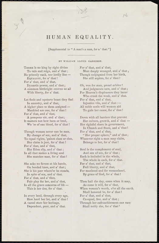 Poem Titled Human Equality By William Lloyd Garrison 1871