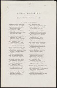 Poem titled Human Equality by William Lloyd Garrison, [1871?]