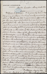 Card and letter from William Lloyd Garrison, Baltimore Jail, to Francis Todd, May 13, 1830
