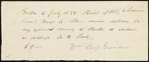 Receipt from William Lloyd Garrison, Boston, [Mass.], to Henry Grafton Chapman, 6 July 1838
