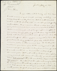 Incomplete letter from Amos Farnsworth, Groton, [Mass.], to Anne Warren Weston, July 20, 1845