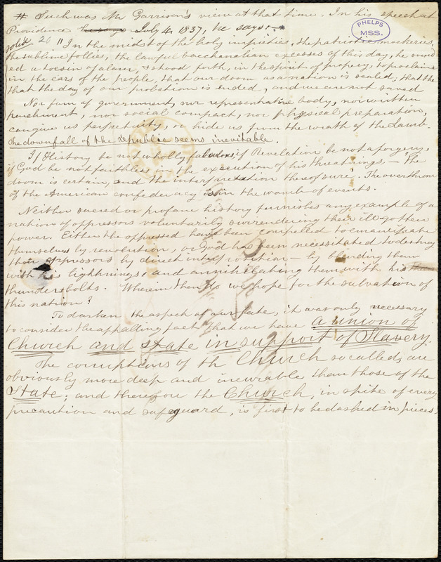 Extract of a speech by William Lloyd Garrison in Providence, RI, July 4, 1837