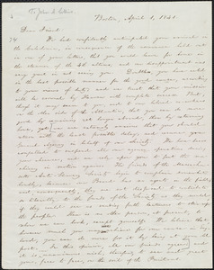 Letter from William Lloyd Garrison, Boston, [Mass.], to John Anderson Collins, April 1, 1841