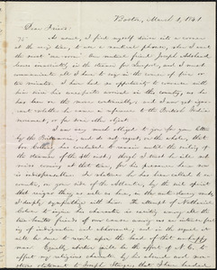 Letter from William Lloyd Garrison, Boston, [Mass.], to Elizabeth Pease Nichol, March 1, 1841
