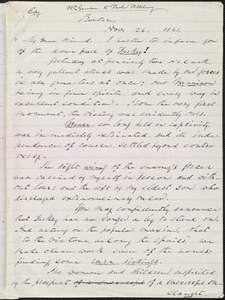 Copy of letter from William Lloyd Garrison, Boston, [Mass.], to Francis Jackson, Nov. 26, 1841
