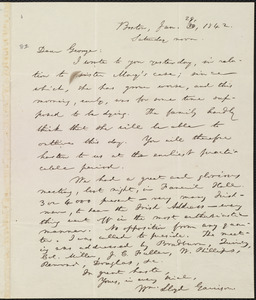 Letter from William Lloyd Garrison, Boston, [Mass.], to George William Benson, Jan. 29, 1842, Saturday noon