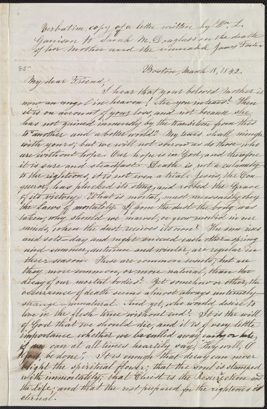 Copy of letter from William Lloyd Garrison, Boston, [Mass.], to Sarah Mapps Douglass, March 18, 1842