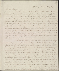 Letter from William Lloyd Garrison, Boston, [Mass.], to George William Benson, March 22, 1842