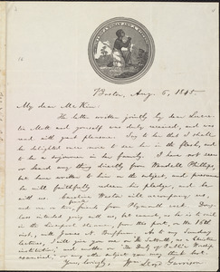 Letter from William Lloyd Garrison, Boston, [Mass.], to James Miller M'Kim, Aug. 6, 1845