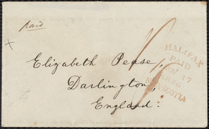 Letter from William Lloyd Garrison, Halifax, [Nova Scotia], to Elizabeth Pease Nichol, Nov. 15, 1846