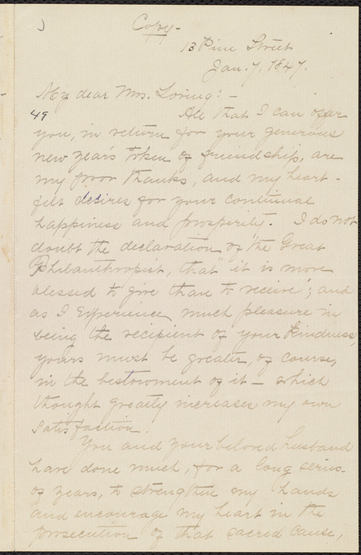 Copy of letter from William Lloyd Garrison, 13 Pine Street, [Boston, Mass.], to Louisa Gilman Loring, Jan. 7, 1847