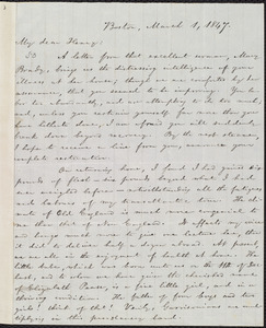 Letter from William Lloyd Garrison, Boston, [Mass.], to Henry Clarke Wright, March 1, 1847