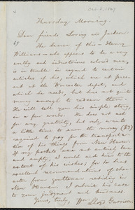 Letter from William Lloyd Garrison to Francis Jackson and Ellis Gray Loring, Thursday Morning, [Dec. 2, 1847]