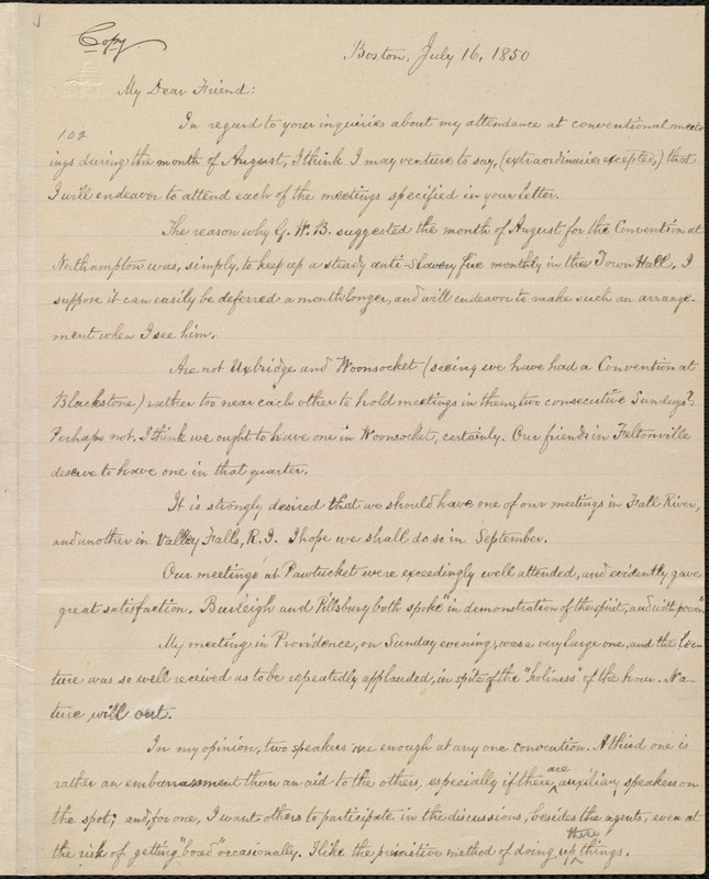 Copy of letter from William Lloyd Garrison, Boston, [Mass.], to Samuel May, July 16, 1850